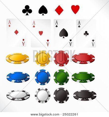 gambling chip and cards - isolated objects