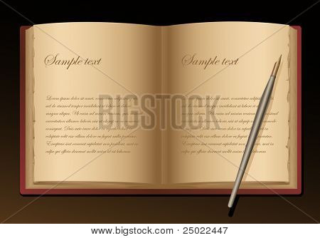 old book and pen - space for text - vector