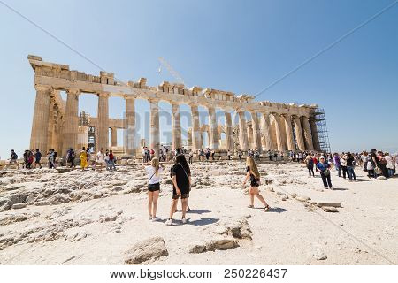 Athens, Greece - May 2018: Tourists Visiting The Ruins Of Parthenon Temple On The Acropolis Of Athen