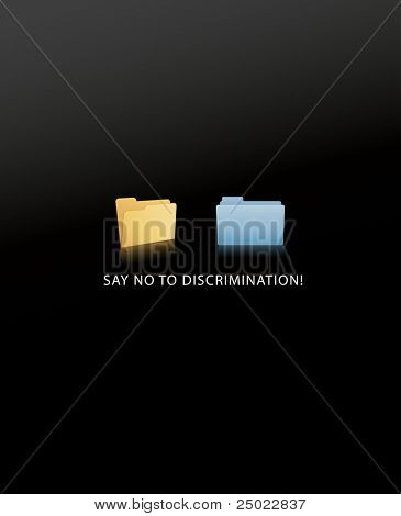 say no to discrimination- windows and mac OS X folder- face to face- vector