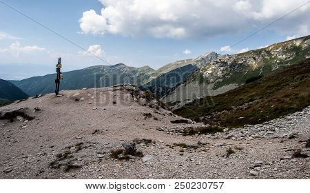 Ziarske Sedlo Mountain Pass With Guidepost And Peaks On The Background In Western Tatras Mountains I