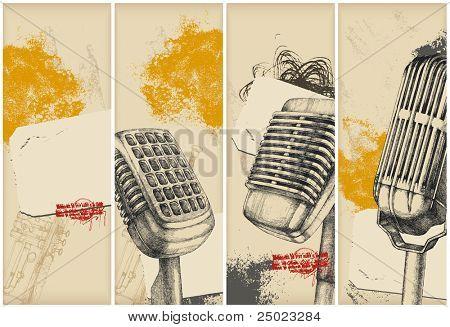 Mikrofon Zeichnung Banner