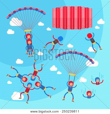 Skydiving Vector Illustration Set. Collection Of Solo, Tandem And Formation Group Flights. Pilot Wit