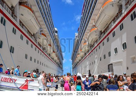 Grand Turk, Turks And Caicos Islands - April 03 2014: Cruise Ship Passengers From Carnival Liberty A