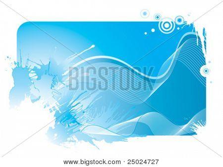 Blue color wave and splash background, vector illustration layered file.