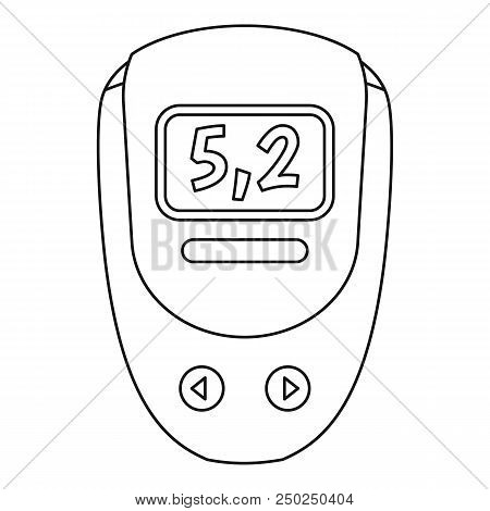 Electronic Glucometer Icon. Outline Electronic Glucometer Vector Icon For Web Design Isolated On Whi