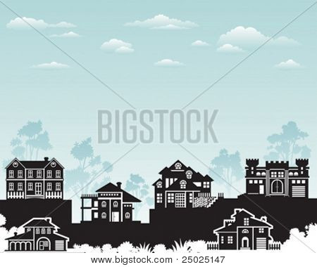 Residence on hill with beautiful nature, vector layered.