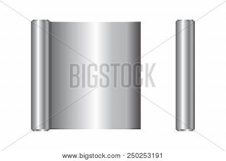 Realistic Roll Of Aluminium Foil, Icon. Vector Illustration.