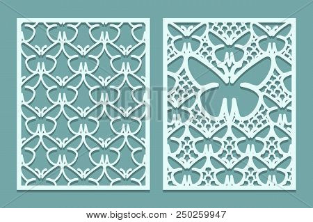 Die And Laser Cut Decorative Lace Panels Patterns With Butterflies. Set Of Bookmarks Templates. Cabi