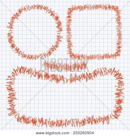 Set Of Frames Of The Doodle Of A Red Pen On A School Notebook Page In Cage. Vector Illustration.