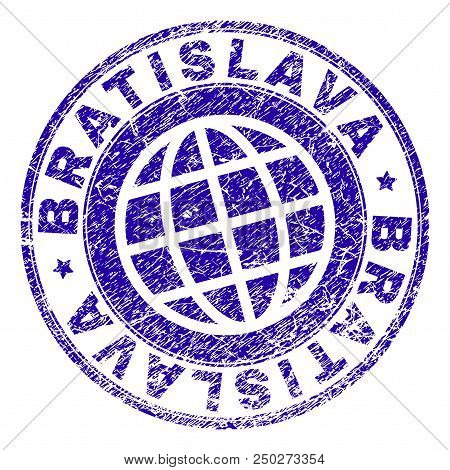 Bratislava Stamp Print With Grunge Style. Blue Vector Rubber Seal Print Of Bratislava Caption With C
