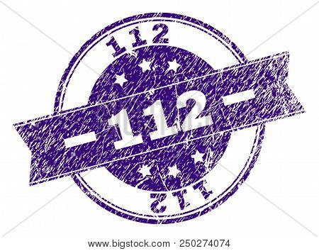 112 Stamp Seal Watermark With Grunge Style. Designed With Ribbon And Circles. Violet Vector Rubber P