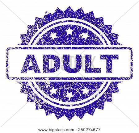 Adult Stamp Watermark With Scratched Style. Blue Vector Rubber Seal Print Of Adult Caption With Scra