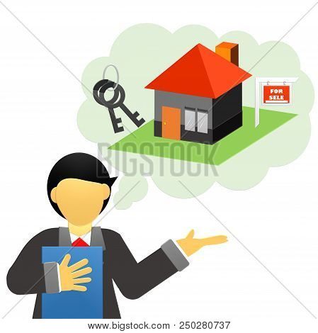 Real estate agent with house model and keys. Hand giving house keys isometric design. Vector illustr