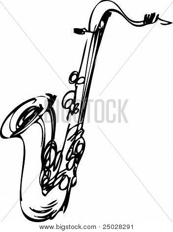 sketch brass musical instrument saxophone tenor