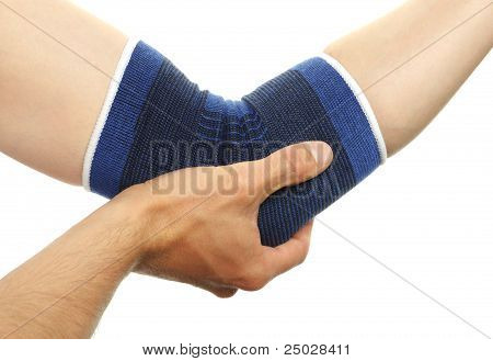 Medical Bandage On Injury Elbow