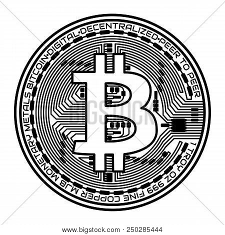 Crypto Currency. Face Of The Crypto Currency Bitcoin On White Background.