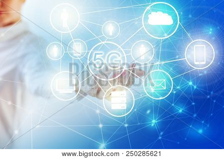 5G k Internet mobile wireless concept. 5G Internet icons in hand . Best Internet Concept of global business from concepts series. Symbol of internet, technology and communication