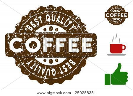 Best Quality Reward Medallion Stamp. Vector Seal With Grunge Surface And Coffee Color For Rubber Sta