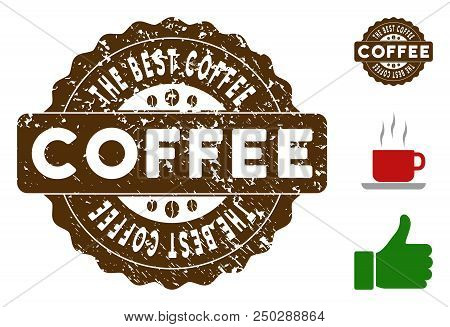 The Best Coffee Award Medallion Stamp. Vector Seal With Grunge Style And Coffee Color For Rubber Sta