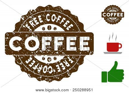 Free Coffee quality medallion stamp. Vector seal with grunge surface and coffee color for rubber stamps imitations. Brown rubber seal stamp with grunge design of Free Coffee title. poster