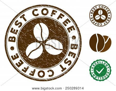 Best Coffee Brown Stamp. Vector Seal Imprint Imitation With Grunge Effect And Coffee Color. Round Ve