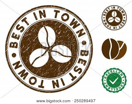 Best In Town Brown Stamp. Vector Seal Watermark Imitation With Grunge Surface And Coffee Color. Roun