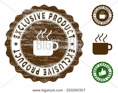 Exclusive Product Medallion Stamp. Vector Seal Watermark Imitation With Grunge Texture And Coffee Co