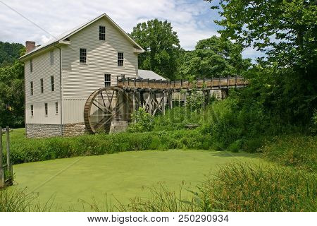 A Green Algae-covered Pond Before A White Gristmill