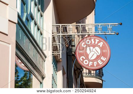 Szeged, Hungary - July 2, 2018: Costa Coffee Logo On Their Main Shop And Coffee House In Szeged. Cos