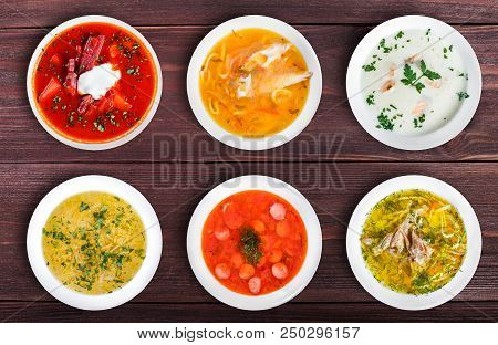 Set Of Soups From Worldwide Cuisines, Healthy Food. Cream Soup With Mushrooms, Asian Fish Soup, Soup
