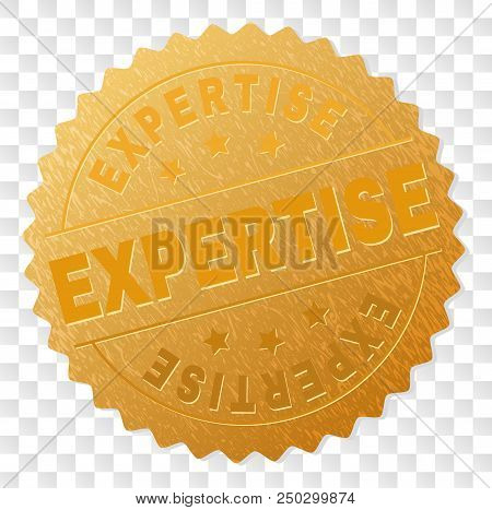 Expertise Gold Stamp Award. Vector Gold Award Of Expertise Text. Text Labels Are Placed Between Para