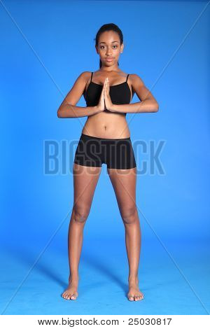Beautiful Fit African Woman Standing Meditating