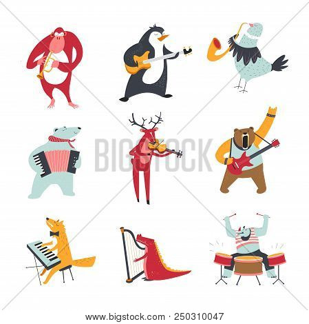 Cartoon Animals And Birds Playing Music. Vector Monkey, Penguin Or Bear And Elk With Rhinoceros Or W