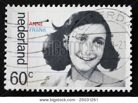Dutch Stamp With Image Of Anne Frank.