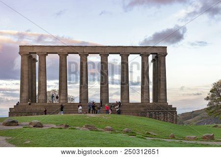 Edinburgh, Scotland - April 2018: The National Monument Of Scotland On Calton Hill In Edinburgh, A M