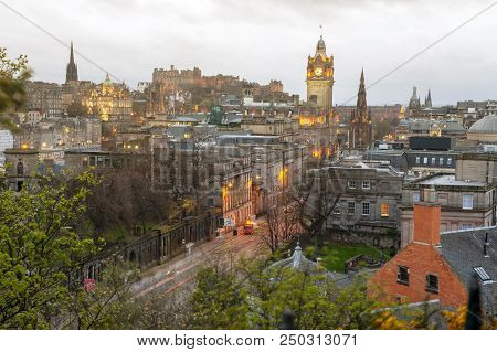 Cityscape View Of The Old Town District Of Edinburgh City From The Hilltop Of Calton Hill In Central