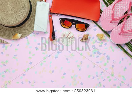 Flat Lay Objects The Accessory For Travel Summer Holiday Background Concept.table Top View Of Fashio