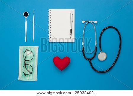 Table Top View Aerial Image Of Accessories Healthcare & Medical Background Concept.red Heart & Steth