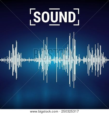 Sound Waves On A Dark Background. Equalize Audio Melody