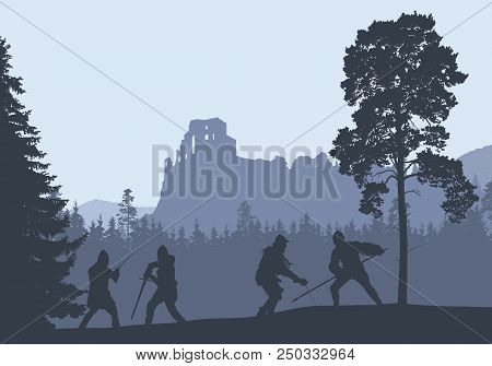 Silhouettes Of Four Warriors Fighting In A Forest Under The Ruins Of A Medieval Castle - Vector