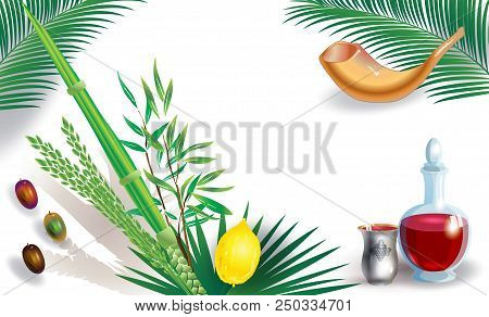 Sukkot Festival Greeting Card With Hebrew Text - Happy Sukkot! Lulav, Etrog, Shofar, Palm Tree Leave