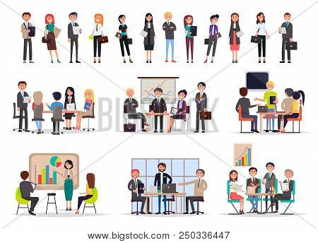 Successful Business People On Meetings Poster Color Vector Illustration Of Office Workers Analyzing