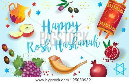 Happy Rosh Hashanah Greeting Card - Jewish New Year. `shana Tova!` On Hebrew - Have A Sweet Year. Ho