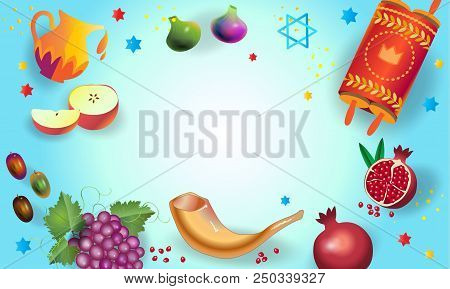 Rosh hashanah vector photo free trial bigstock rosh hashanah greeting card jewish new year shana tova on hebrew traditional symbols oney and apple shofar pomegranate vintage torah scroll banner m4hsunfo