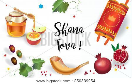 Happy rosh hashanah vector photo free trial bigstock happy rosh hashanah greeting card jewish new year shana tova on hebrew have a sweet year honey and apple shofar pomegranate vintage torah scroll m4hsunfo