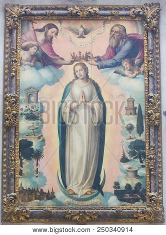 Painting Of The Coronation Of Mother Mary By The Holy Trinity,