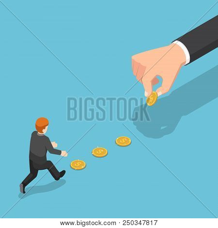 Flat 3d Isometric Big Hand Use Dollar Coin To Entice Businessman. Business Trap And Financial Concep