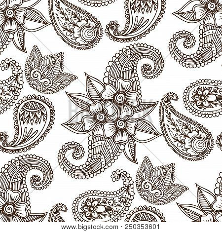 Henna Tattoo Mehndi Flower Template Doodle Ornamental Lace Decorative Seamless Pattern Background In