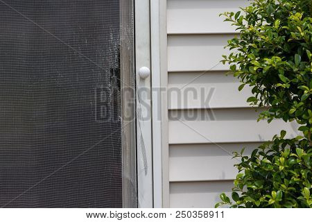 Ripped And Damaged Wire Mesh On A Screen Door On A Timber Clad House Viewed From The Exterior Patio